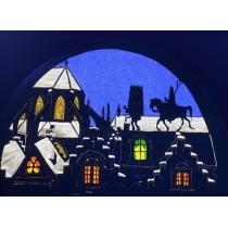 Transparant Sint Nicolaas op het dak met Piet