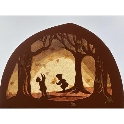 Transparant Herfstbos, met spelende kinderen